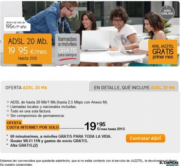 Oferta Jazztel e1313512030845 Jazztel mantiene el precio de su ADSL por 19,95 euros hasta 2013