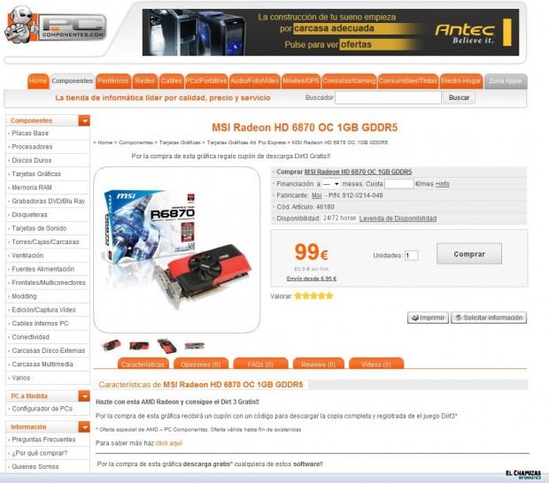MSI Radeon HD 6870 OC 1GB GDDR5 Pccomponentes e1318341503476 0