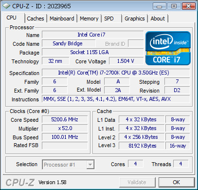 Overclock Core i7 2700K CPU Z 0