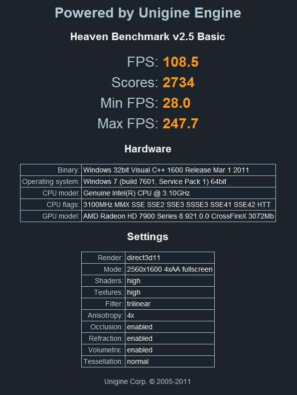 3x HD 7970 Heaven 2560 x 1600 6