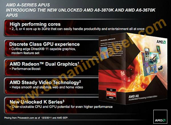 AMD Llano A8 3870K A6 3670 Black Edition 1 0
