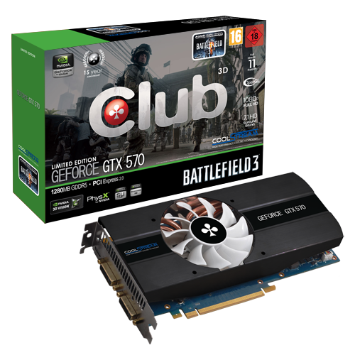 Club 3D GeForce GTX 570 Battlefield 3 Limited CGNX X5780B 1 0