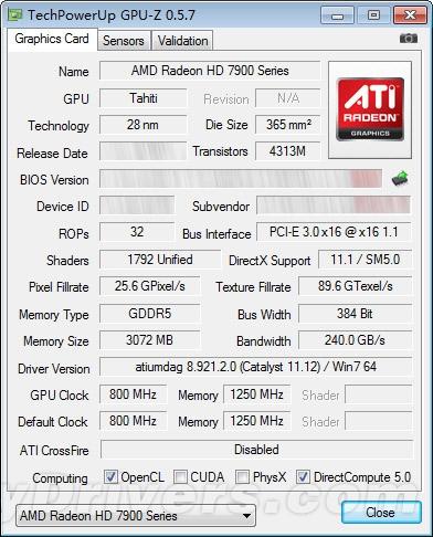 GPU Z AMD Radeon HD 7950 Primeros Benchmarks de la AMD Radeon HD 7950