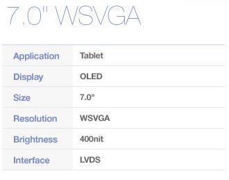 OLED 400 nits WSVGA 0