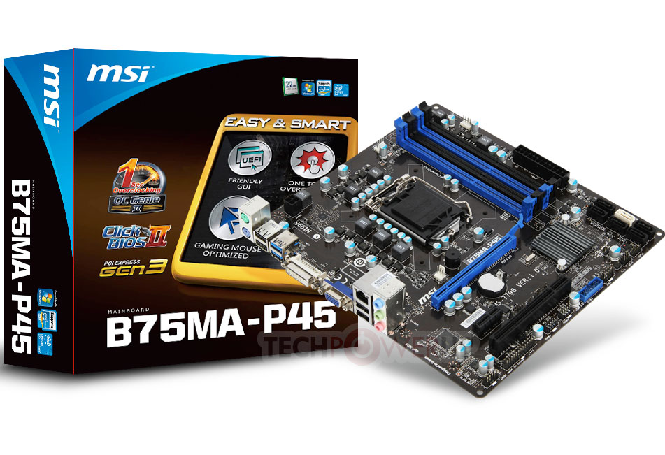Placa base MSI B75MA-P45 al detalle