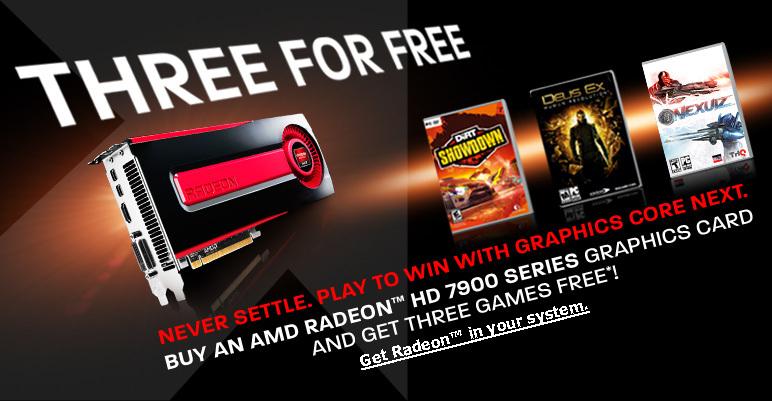 """AMD lanza una nueva oferta """"Three for Free"""" para la serie Radeon HD 7900"""