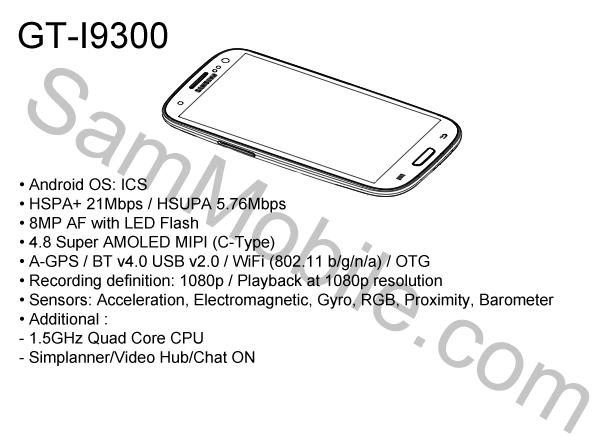 samsung galaxy 3 1 Filtrados el diseño y algunas características del Samsung Galaxy S III