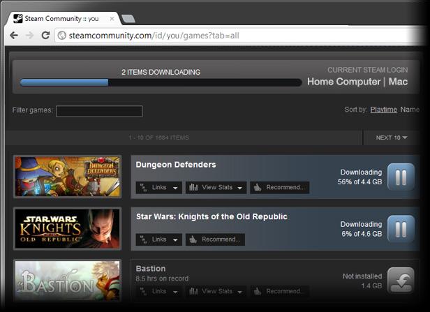 Steam pone en marcha las descargas remotas