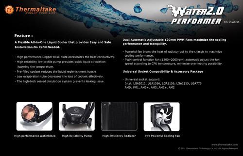 """tt water 2.0 performer 03 Thermaltake anuncia la serie """"Water 2.0"""" de refrigeración líquida"""