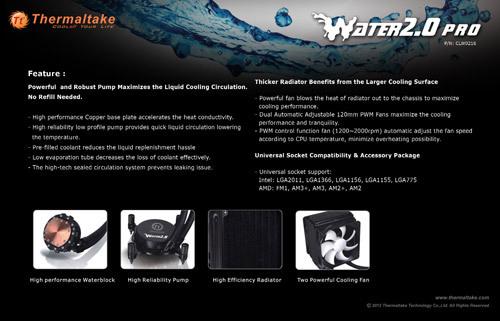 """tt water 2.0 pro 03 Thermaltake anuncia la serie """"Water 2.0"""" de refrigeración líquida"""