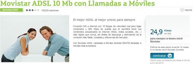 Movistar ADSL 10 Mb 620x217 Movistar se ve forzada a rebajar el precio de su ADSL
