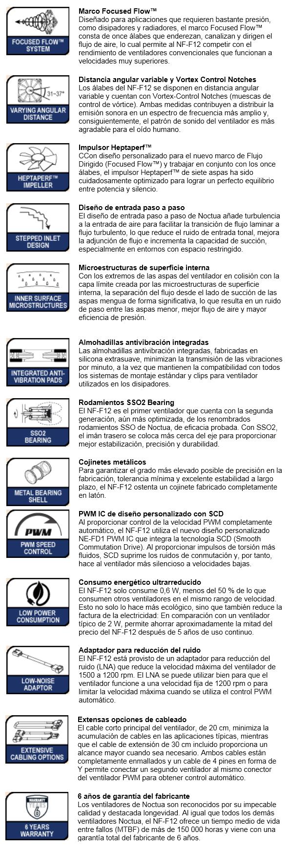 Noctua NF F12 PWM Tecnologias 2