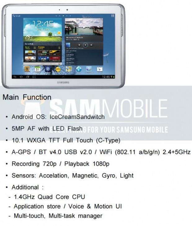 Samsung Galaxy Note 10.1 619x729 Filtradas las características técnicas del Samsung Galaxy Note 10.1