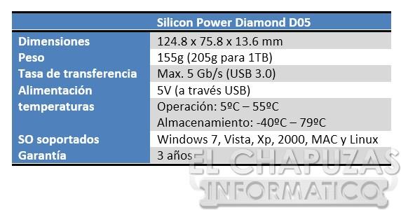 Silicon Power Diamond D05 Especificaciones Review: Silicon Power Diamond D05 1TB