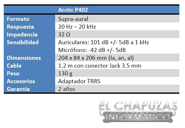 Arctic P402 Especificaciones 2