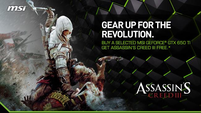 MSI regala el Assassin's Creed III con sus GTX 650 Ti