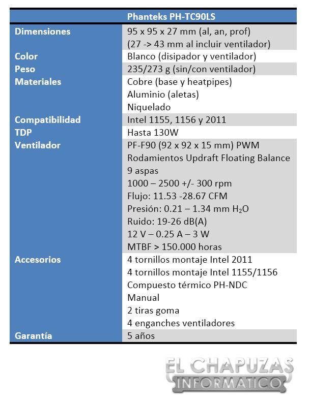 Phanteks PH TC90LS Especificaciones 1