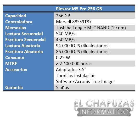 Plextor M5 Pro 256 GB Especificaciones 1