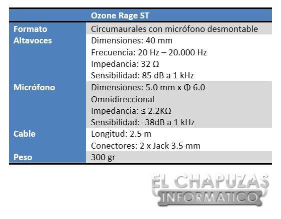 Ozone Rage ST Especificaciones 1