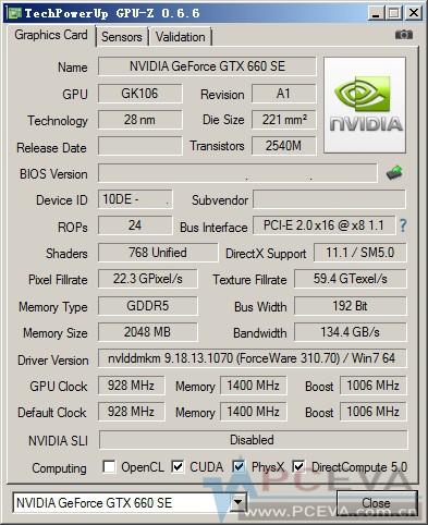 Especificaciones Nvidia GeForce GTX 660 SE
