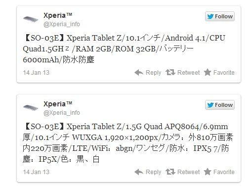 Especificaciones Sony Xperia Tablet Z
