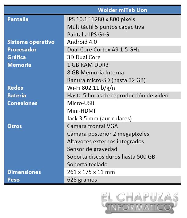 Wolder miTab Lion Especificaciones 2