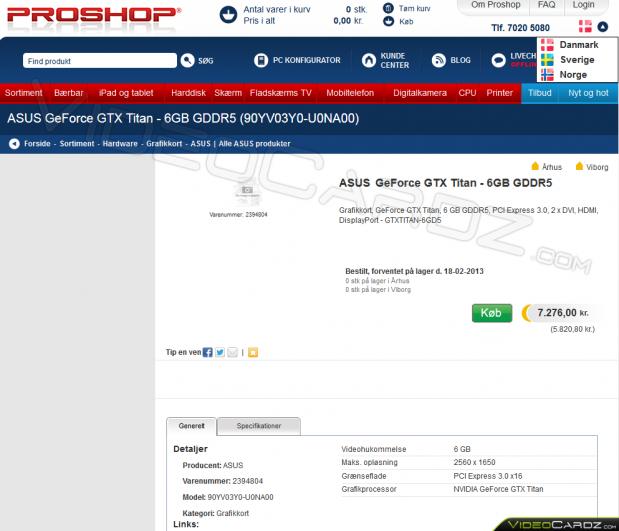 ASUS GeForce GTX Titan 6GB (GTXTITAN-6GD5)