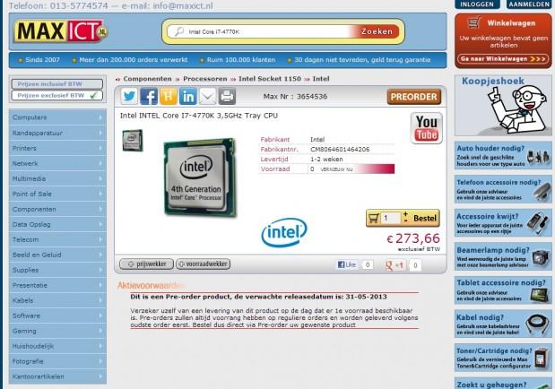 Intel Core i7-4770K Maxict