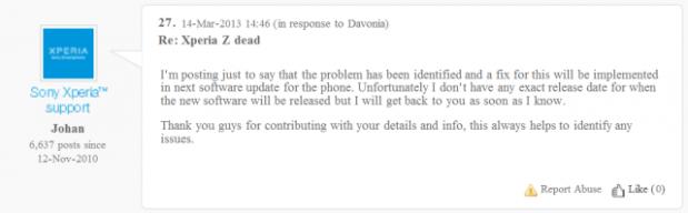 Sony Xperia Z muerte súbita