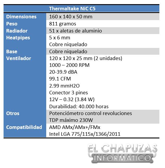 Thermaltake NiC C5 Especificaciones 1
