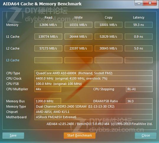 AIDA64 Cache y Memory Benchmark A10-6800K
