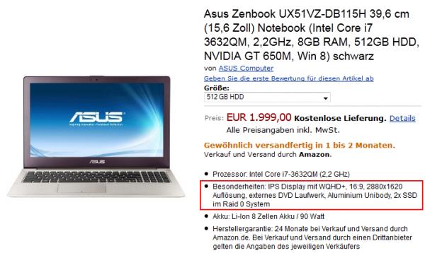Asus Zenbook UX51VZ