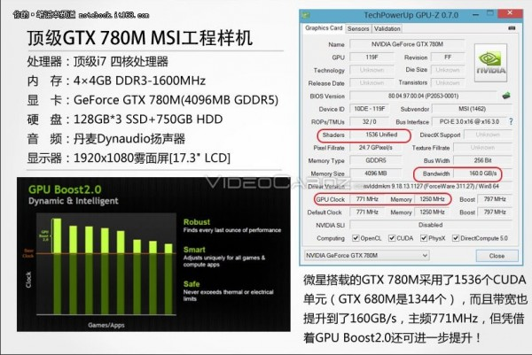 Especificaciones GeForce GTX 780M