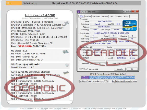 Intel Core i7-4770K a 3.8 GHz