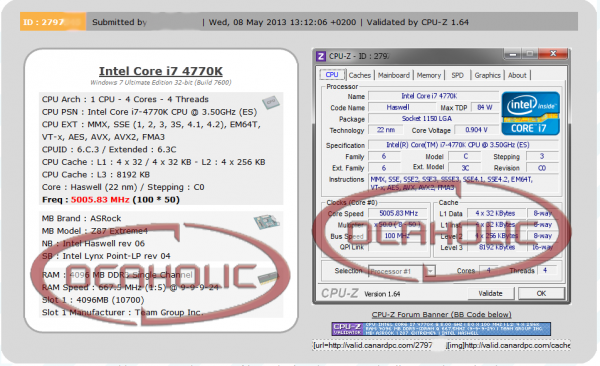 Intel Core i7-4770K a 5.0 GHz