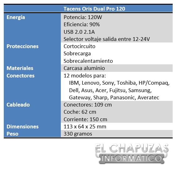 Tacens Oris Dual Pro Especificaciones 2