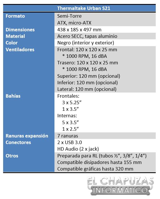 Thermaltake Urban S21 Especificaciones 2