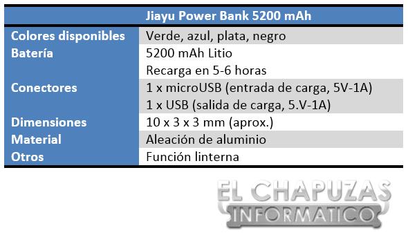 Jiayu Power Bank 5200 mAh Especificaciones 2