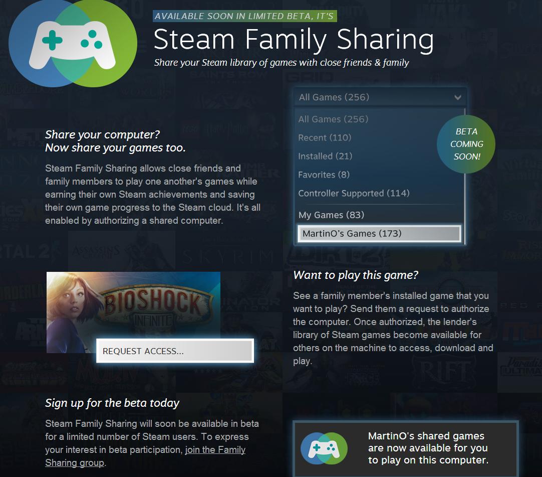 Steam Family Sharing permitirá compartir nuestros juegos