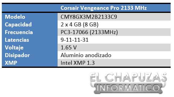 Corsair Vengeance Pro 2133 MHz Especificaciones 2