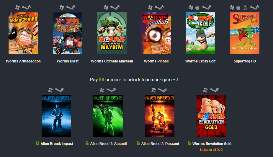 Humble Bundle: 10 juegos de Team 17 por menos de 5 euros (Worms incluidos!)