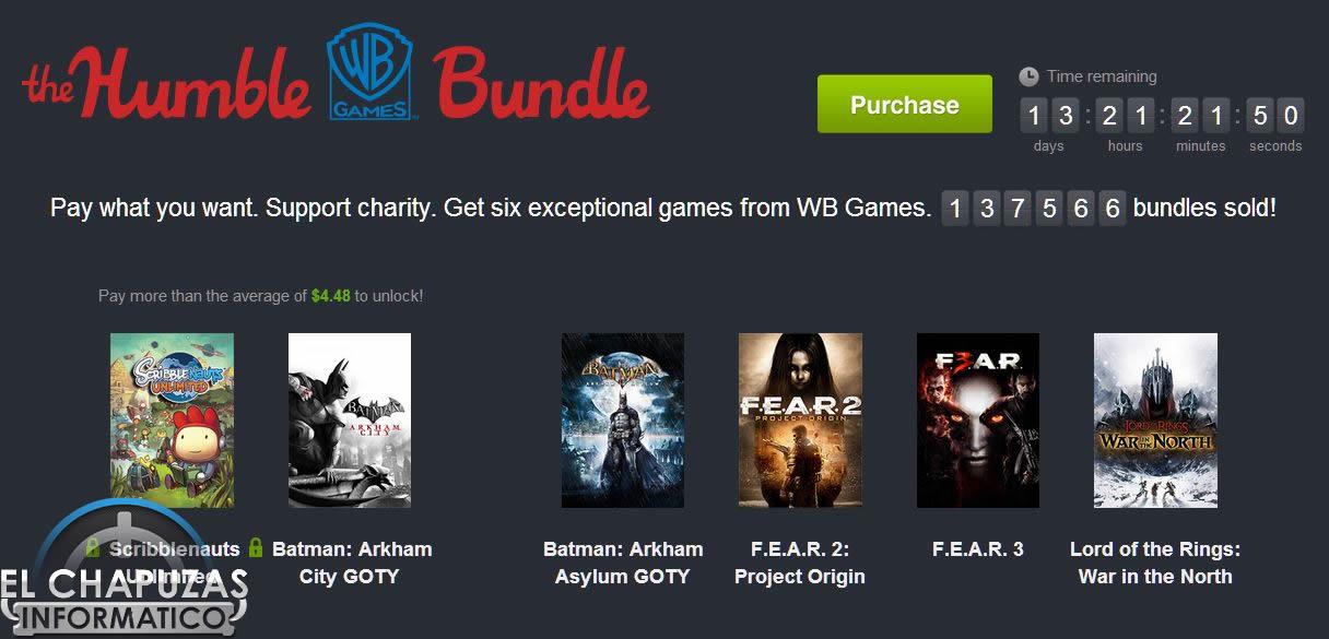 Humble Bundle: ¡6 juegos Warner Bros. Games por 3 euros!