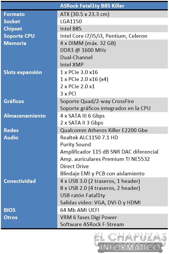ASRock Fatal1ty B85 Killer Especificaciones 2