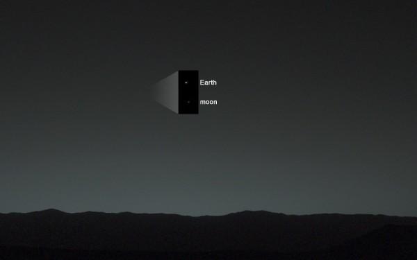 La Luna y la Tierra vista desde Marte