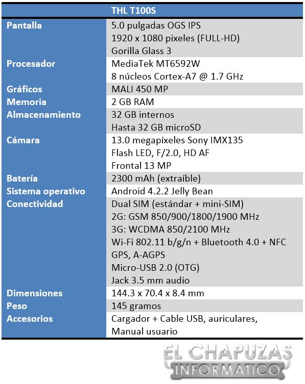 THL T100S Especificaciones