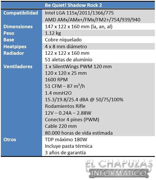 lchapuzasinformatico.com wp content uploads 2014 04 Be Quiet Shadow Rock 2 Especificaciones 2