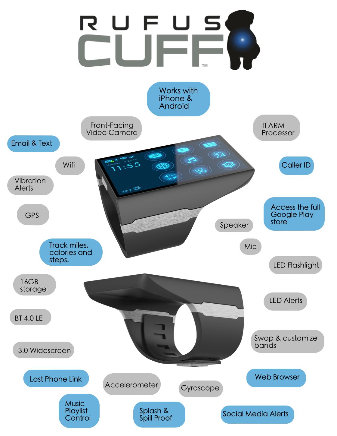 Rufus Cuff Monster: Indiscreto Smartwatch con pantalla de 3″