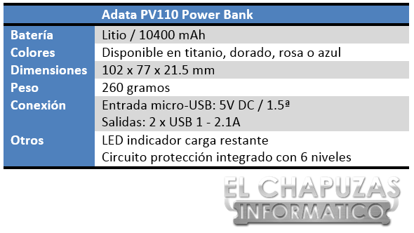 Adata PV110 Power Bank Especificaciones 2
