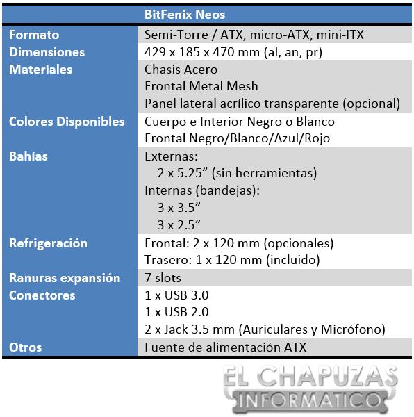 BitFenix Neos Especificaciones 2