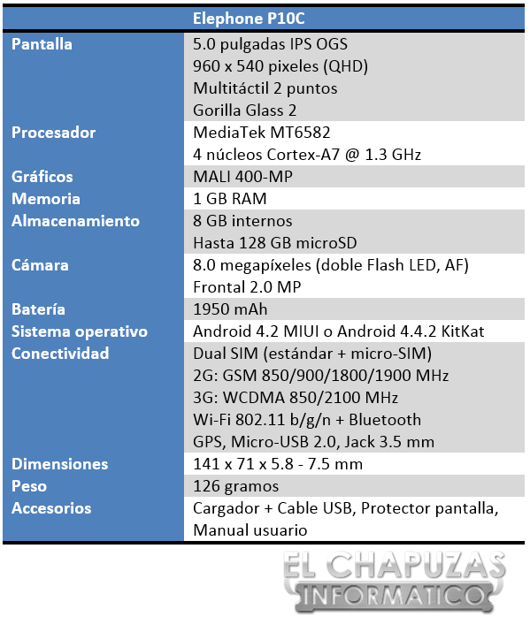 Elephone P10C Especificaciones 2